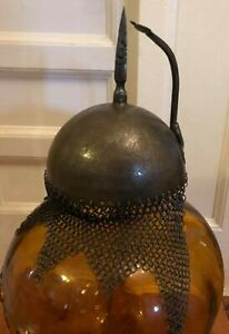 Antique Indo Persian Warrior Helmet with Chainmail - Ottoman Kulah Khud