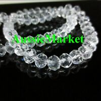 100 x crystal glass beads clear rondelle faceted strand 6mm suncatcher spacer