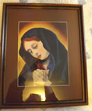 """Framed & Matted Outsider Painting of the Virgin Mary 18""""x22"""" by artist Bradford"""