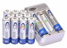 12 pcs AA NI-MH rechargeable battery Cell 3000mAh 1.2V & AA Battery Charger