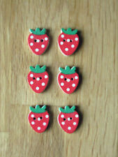 6 Strawberry Wood Buttons.Flat back.Craft embellishment etc 20mmx15mm.FREEPOST