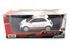 Motormax  Fiat Abarth 500 R3T  White/Red Checker Roof 1/24 Diecast cars 73379WH