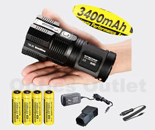 NiteCore TM26 4000 Lumen Search Light w/ 4x 3400mAh 18650, Charger, Car Adapter