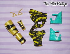MONSTER HIGH CLEO DE NILE GLOOM BEACH SWIMSUIT SHOES WRAPS EARRINGS OUTFIT