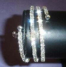 VERY SPARKLY SILVER & CLEAR WHITE 3 ROW WRAP AROUND DIAMANTE BRACELET - UK SALE