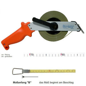 Kapselrollbandmaß 20m Maßband Bandmaß 3:1 Übersetzung 9,5mm nylonbeschichtet