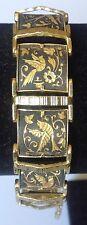 bracelet vintage style or de tolède gravé déco relief couleur noir et or 3480