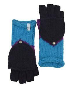 Nixon Bloomsberry Cable Knit Flip Mitten Gloves , One Size, Purple/Black/Blue