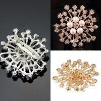 Large Flower Rhinestone Crystal Diamante Brooch Wedding Bridal Broach