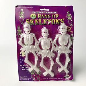 Vintage Glow In The Dark Hang Up Skeletons 12 Count