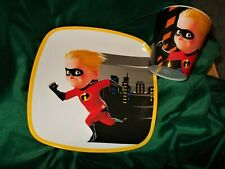 DISNEY THE INCREDIBLES 2 DASH DINNERWARE PLATE AND CUP/GLASS MATCHING