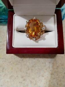 Estate  16.90ct Citrine 14K Gold Large Cluster Cocktail Ring .80 ct diamonds