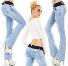 Damen Bootcut Jeans Hose Schlaghose Denim Stretch Gürtel Hellblau XS S M L XL