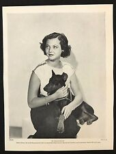 1934 Dog Print / Bookplate - MANCHESTER TERRIER, Sylvia Sidney, Actress & Pet