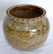 New listing Vtg Crock Shake Rag Alley Pottery Stoneware Primitive Brown Pot Planter Bowl Usa