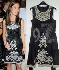 Rare BNWOT WAREHOUSE black grey silk Applique Tile Dress ruffle hem bib 12 ASO