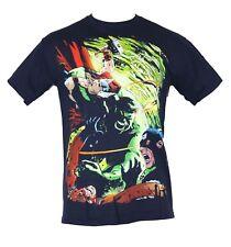 The Avengers  Mens T-Shirt - Hulk Battling Thor Giant Man & Cap Image