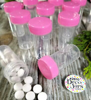 50 Tiny Tubes Vial Herbs Meds Pill Bottle Powder Container Pink Screw Cap #2810