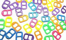 25x16mm Plastic Soda Pop Tabs - Multi-colored Bright Neon - Package of 100