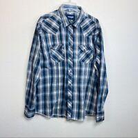 Wrangler Plaid Pearl Snap Long Sleeve Button Up Shirt Blue Gray Mens size XXL