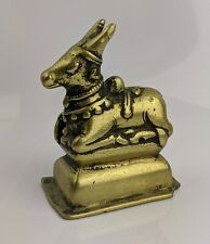 Indian Antique 18th Brass Deity Nandi in Recumbent Position Sacred Bull FINE