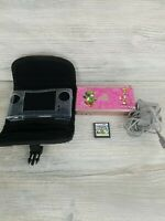 Nintendo DS Lite Rose Gold System no stylus w Case and Super Mario Bros TESTED