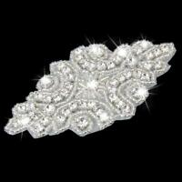 Iron On Sewing Rhinestone Crystal Beaded Motif Wedding Dress Sash Applique Patch