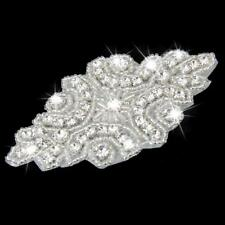 Iron on Rhinestone Crystal Beaded Motif Wedding Dress Sash Applique Patch