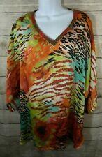 Dana Buchman Womens Large Tunic Top Shirt Animal Print Sheer Black Red V Neck