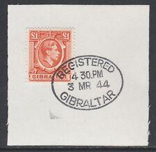 Gibraltar 5368 - 1938 KG6 £1 orange on piece with MADAME JOSEPH FORGED POSTMARK
