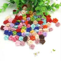 100pcs Small Mini Satin Ribbon Flowers Rose Wedding Decor Sewing Appliques Craft
