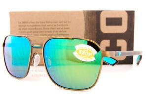 New Costa Del Mar Sunglasses Wader Antique Gold Tortoise Green Mirror 580P Polar