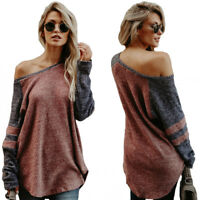 Damen Pullover Pulli asymmetrisch T Shirt Langarm longsleeve schulterfrei BC400