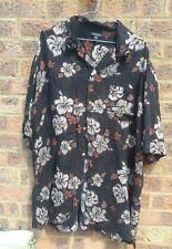 "Mens Vintage black hibiscus flower hawaiian shirt 52"""