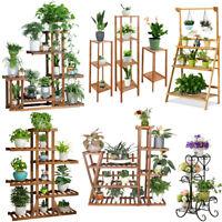 Wooden / Metal Plant Stand Flower Pot Shelves Corner Outdoor Indoor Garden Decor