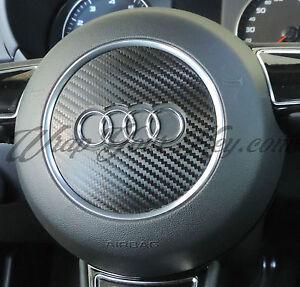 Black Carbon Fiber Airbag Steering Wheel Wrap S RS A1 A3 A4 A5 A6 A8 TT Q3 Q5 Q7