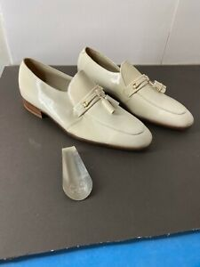 Vintage NOS Florsheim Men's Shoes 44009 White Patent Leather W/ Tasseled Sz 10 C