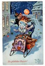 POSTCARD THIELE CATS NEW YEAR SLEIGH RIDE T.S.N. SERIES 1405
