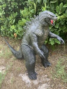"""2014 Jakks Pacific Giant Godzilla Huge 24"""" tall 3 ft Long W Tail Piece Kaiju EUC"""