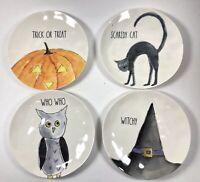 """Rae Dunn Halloween 6"""" Plates -cat, Owl, pumpkin, Witch Hat Set of 4 NEW"""