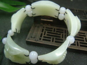 Chinese Antique Nephrite HE TIAN-Jade Exquisite LUCK bangle Bracelet424