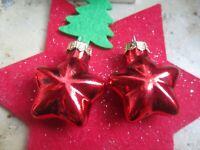 ★ christbaum kugel weihnachts ohrringe rote sterne ca 3 cm s 925 haken