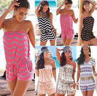 Women Holiday Bandeau Short Playsuit Romper Ladies Summer Beach Jumpsuit Dress