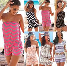 UK Womens Beach Bandeau Strapless Casual Playsuit Summer Ladies Dress Jumpsuit