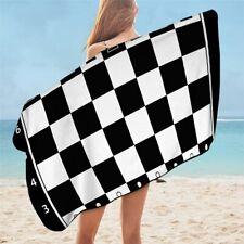 Chess Board Game Black White Play Kids Travel Holiday Beach Bath Summer Towel