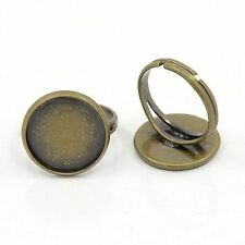 10pcs Antique Bronze Adjustable Finger Ring Components Pad Bases for Cabochons