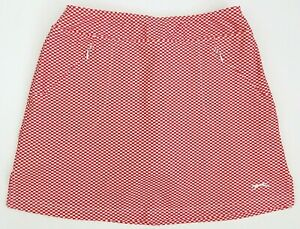 Slazenger Golf Wicking Stretch Checkered Skort Shorts Red White Size SMALL