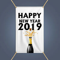 Happy New Year 2019 Banner, Outdoor Party Decor Champagne Celebration Vinyl Sign