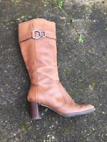 Next Brown Leather Knee High Square Toe Boots Size 6.5/40 B34