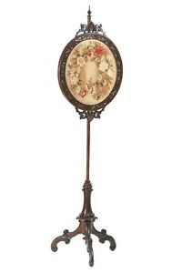 Victorian Tripod Pole Screen With Needlepoint Floral Tapestry